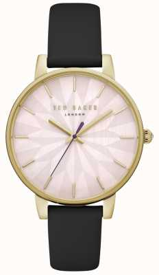 Ted Baker Womens Kate Pink Floral Dial Gold Case Black Leather Strap TE15200003