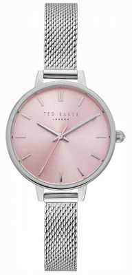 Ted Baker Womens Kate Pink Dial Silver Stainless Steel Mesh Bracelet TE50070003