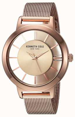 Kenneth Cole Womens New York Quartz Rose Gold Stainless Steel Mesh KC15172002
