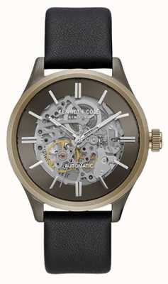 Kenneth Cole New York Two Tone Skeleton Dial Black Leather Strap KC15171004