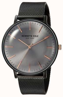 Kenneth Cole New York Black Dial Black Mesh Bracelet Rose Gold Markers KC15183004