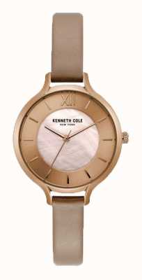 Kenneth Cole Womens Nude Dial Champagne Case Leather Nude Strap KC15187004