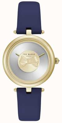 Ted Baker Womens Andrea Gold Bow Dial Blue Leather Strap TE15199003