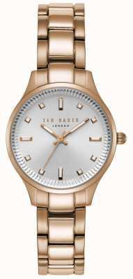Ted Baker Womens Zoe Silver Case Rose Gold Stainless Steel Bracelet TE50006001