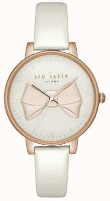 Ted Baker Womens Brook Rose Gold Bow Dial Rose Gold Case White Leather TEC0185005