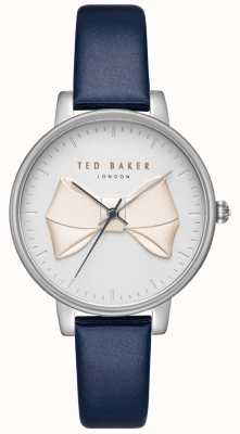 Ted Baker Womens Brook Champagne Bow Dial Silver Case Blue Leather TE15197001
