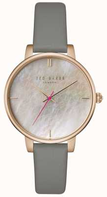 Ted Baker Womans Kate Mother Of Pearl Bow Printed Dial Grey Leather TEC0025002