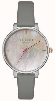 Ted Baker Womans Kate Mother Of Pearl Bow Printed Dial Grey Leather TE15162002