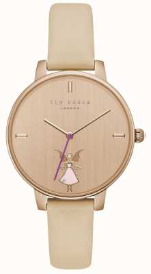 Ted Baker Womans Kate Fairy Print Rose Gold Dial Champagne Leather Str TE15162003