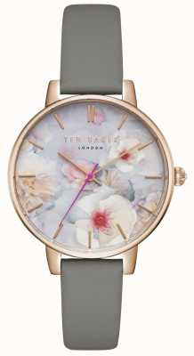 Ted Baker Womans Kate Floral Dial Grey Leather Strap Rose Gold Case TEC0025007