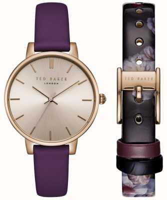 Ted Baker Womans Kate Gift Set Rose Gold Dial Purple & Floral Leather TE15162006