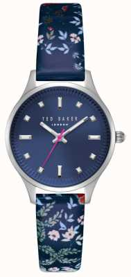Ted Baker Womans Zoe Dark Blue Dial Stainless Steel Case Blue Floral TE50001001