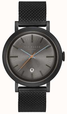 Ted Baker Connor Dark Grey Dial Black PVD Case Mesh Stainless Steel TE15062009