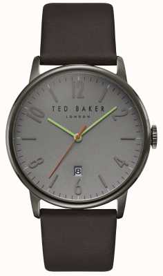 Ted Baker Daniel Grey Dial Date Display Dark Brown Leather Strap TE15067004
