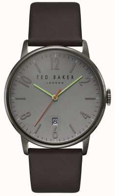 Ted Baker Daniel Grey Dial Date Display Dark Brown Leather Strap TE15067004