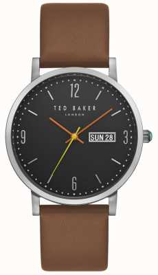 Ted Baker Grant Day Date Display Black Dial Brown Leather Strap TE15196010