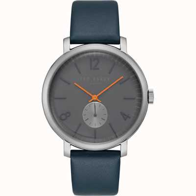 Ted Baker Oliver Blue Leather Strap Second hand Subdial Orange Hands TE15063004