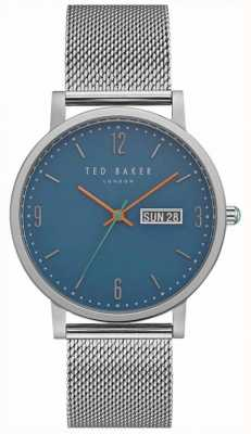 Ted Baker Grant Day Date Display Blue Dial Stainless Steel Mesh TE15196013