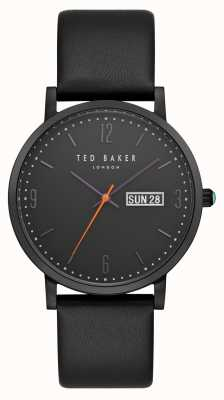 Ted Baker Grant Day Date Display Black Dial Black Leather Strap TE15196012