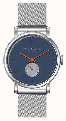 Ted Baker Oliver Blue Dial Silver Stainless Steel Mesh Bracelet Orange TE15063006