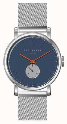 Ted Baker Oliver Blue Dial Silver Stainless Steel Mesh Bracelet Orange TE15063006