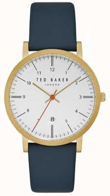 Ted Baker Samuel White Dial Gold Case Date Display Blue Leather Strap TE15088003