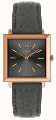 Henry London Womans Heritage Square Case Grey Sunray Dial Rose Gold Case HL26-QS-0262