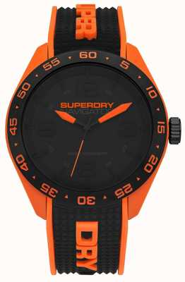 Superdry Navigator Black Dial Orange And Black Rubber Silicone Strap SYG213B