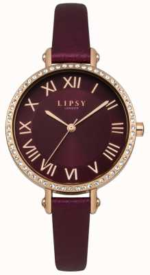 Lipsy Burgandy Sunray Dial Rose Gold Crystal Set Case Leather LP537