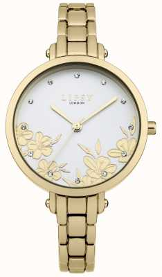 Lipsy Silver Dial Gold Floral Print Crystal Set Stainless Steel LP546