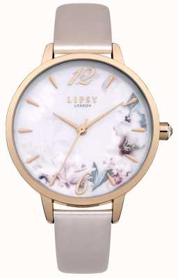 Lipsy Floral Print Multicolour Dial Rose Gold Case Cream Leather LP547