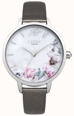 Lipsy Floral Print Multicolour Dial Silver Case Grey Leather LP548