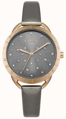 Lipsy Grey Sunray Dial Crystal Set Rose Gold Case Grey Leather LP551