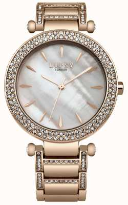 Lipsy Mother Of Pearl Dial Crystal Set Rose Gold Case And Bracelet LP559