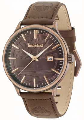 Timberland Edgemont Antique Brass Brown Dial Brown Leather Strap 15260JSQBZ/12