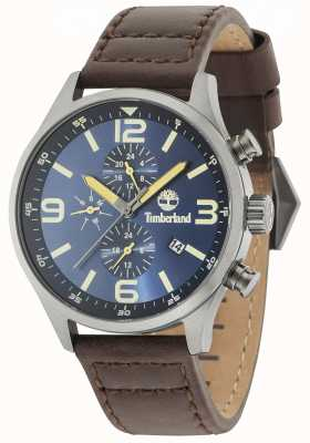 Timberland Rutherford Blue Dial Brown Leather Strap 15266JSU/03