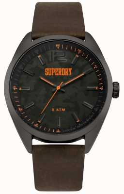 Superdry Brown Leather Strap Printed Camo Dial SYG209BR