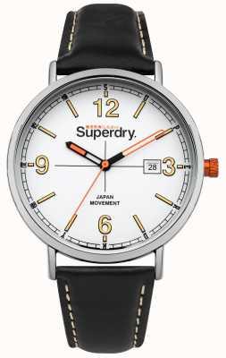Superdry Black Leather Strap White Dial Orange Crown SYG190B