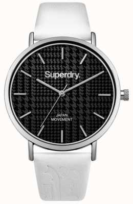 Superdry White Leather Strap Black Print Dial SYL190BW