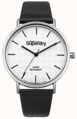 Superdry Black Leather Strap White Print Dial SYL190B