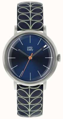 Orla Kiely Silver Case Navy Blue Sunray Dial Navy Blue Leather Strap OK2175