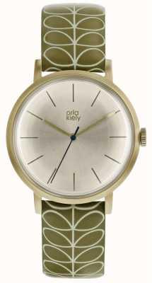 Orla Kiely Pale Gold Case Silver White Sunray Dial Pale Pink Strap OK2176