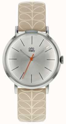 Orla Kiely Silver Case Silver White Sunray Dial Pale Pink Strap OK2177