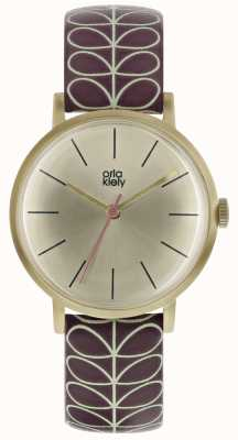 Orla Kiely Pale Gold Case Pale Gold Sunray Dial Burgundy Strap OK2178