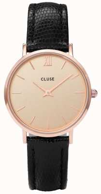 CLUSE Minuit Textured Leather Rose Gold Dial CL30051