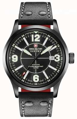 Swiss Military Hanowa Undercover Matte Black Dial Black Leather Strap 06-4280.13.007.07.1