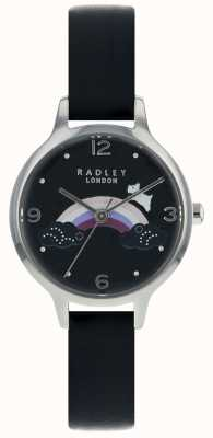 Radley Womans Rainbow Dog Silver Case Black Leather Strap RY2556
