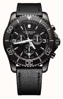 Victorinox Swiss Army Maverick Chrono Black Edition Black Dial Black Leather Strap 241786