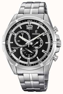 Festina Chrono Sport Date Display Black Stainless Steel Bracelet F6865/2