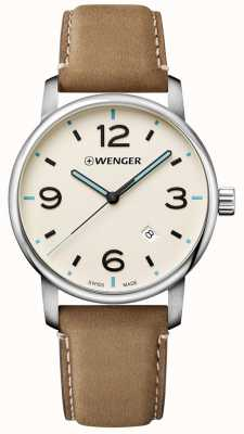 Wenger Urban Metropolitan 42mm Black Cream Dial Light Brown 01.1741.120